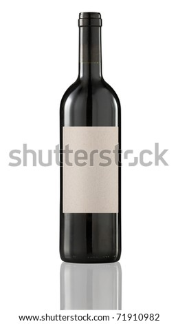 Red wine bottle isolated with blank label for your text.Clipping path included