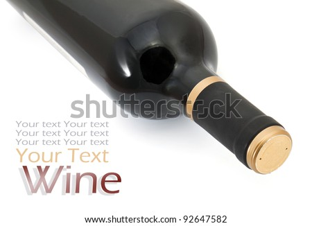 Red wine bottle on white background with space for text