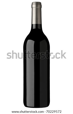 red wine bottle unlabeled, isolated over white background