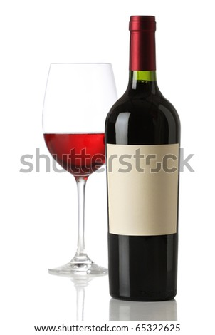 Red wine bottle with and empty label and glass
