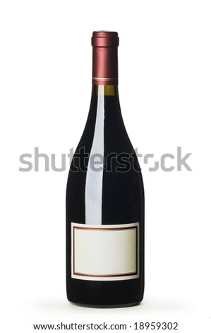 Red wine bottle with blank label on white background