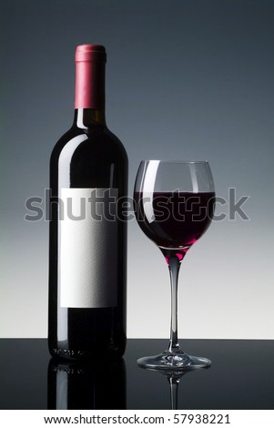 red wine bottle with blind label and glass