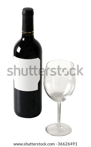 red wine bottle with empty wineglass