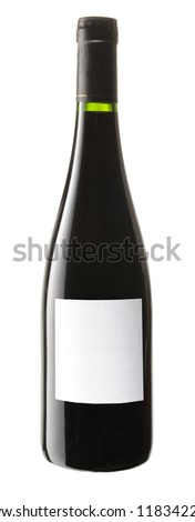 red wine bottle with white label, isolated on white background