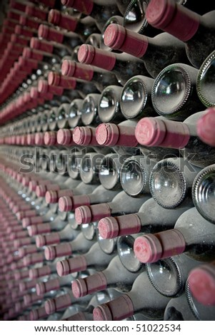 Red wine bottles in a cellar