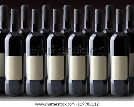 Red Wine Bottles with clipping paths. - stock photo