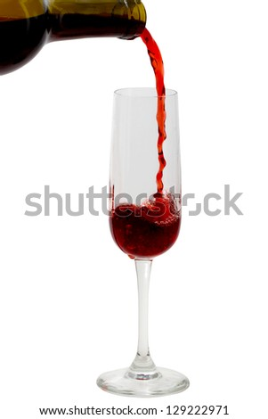 Red wine bring poured from bottle