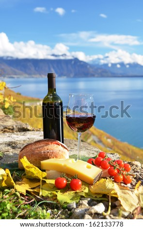 Red wine, cheese, bread and cherry tomatos. Lavaux, Switzerland