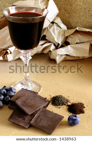Red wine, dark chocolate, blueberries, green and black tea, bioflavonoid rich foods.