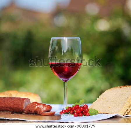 Red wine glass and bunch of grapes and young vine against natural spring background