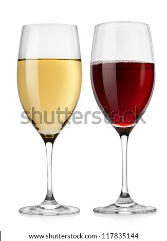 Red wine glass and white wine glass  isolated on a white background #117835144