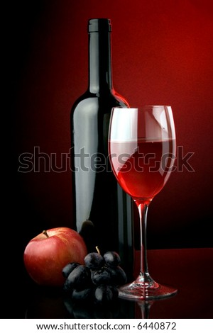 red wine glass bottle apple grape