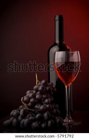 red wine glass bottle grape