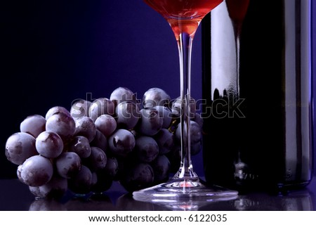red wine glass bottle grape details