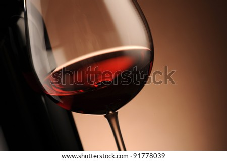 red wine glass close up, food photo