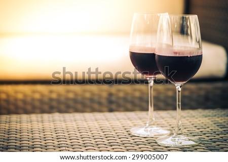 Red Wine glass for dinner - vintage filter