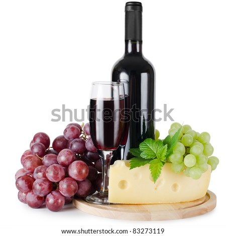 Red wine glass isolated on white background