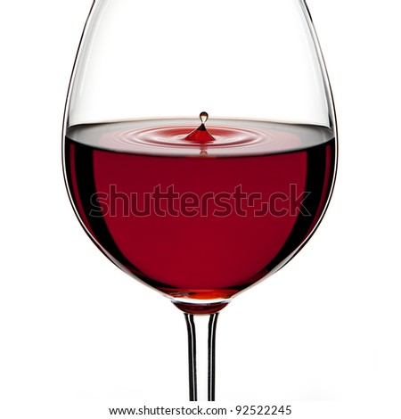 Red Wine Glass silhouette with a Drop on White Background