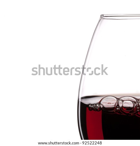 Red Wine Glass silhouette with Bubbles on White Background