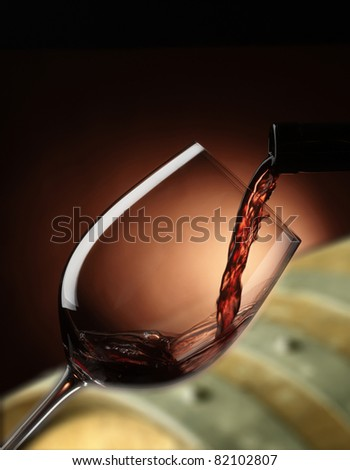 red wine glass with barrels