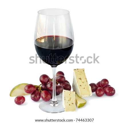 Red wine,grapes and cheese isolated on white background - stock photo
