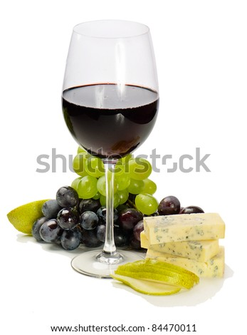 Red wine,grapes and cheese isolated on white background