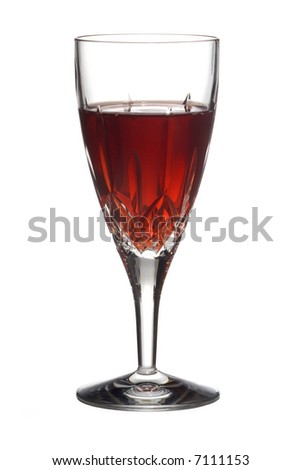 Red wine in a cut crystal flute