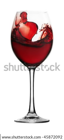 Red wine in a glass glass on a white background