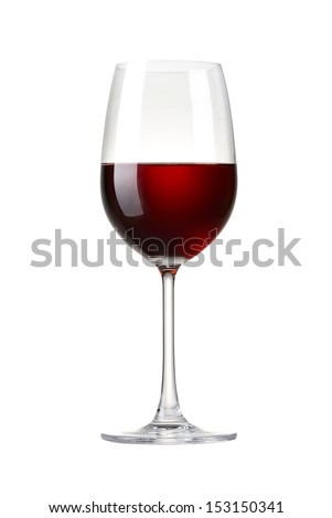 Red wine in a glass isolated on white background - realistic photo image - with clip path #153150341