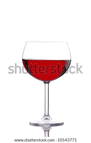Red Wine in Glass with Bubbles isolated on white with reflection