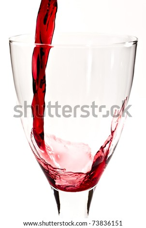 red wine is flowing into the wine glass