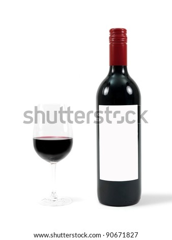 Red wine isolated against a white background