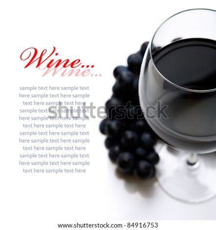 Red wine on the white with copy space