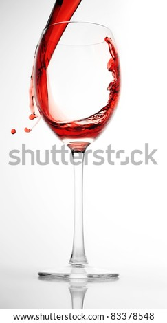 red wine pour into glass close up
