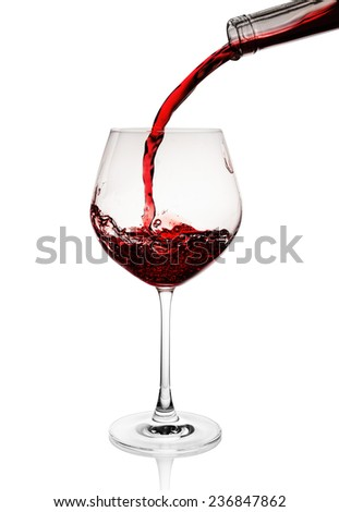 Red wine poured in a glass isolated on white #236847862
