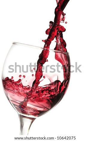 Red wine pouring down
