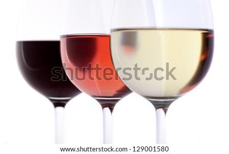 red wine, rose, white wine