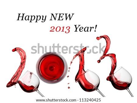 Red wine splash happy new 2013 year