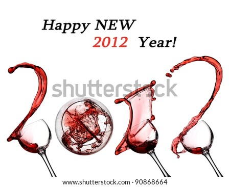 Red wine splash happy new 2012 year