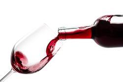 Red wine splash isolated on white background. Use for restaurant cafe.Wine Bottle Wine Bottle Wineglass Glass Red Wine Winetasting