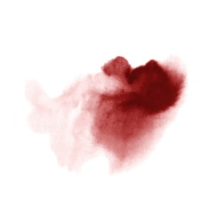 Red wine stain isolated on white background. Realistic wine texture watercolor grunge brush. Dark red mark, watercolour drawing.