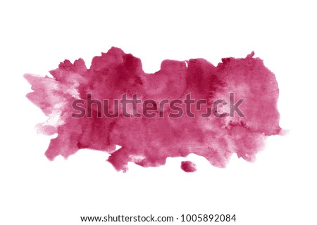 Red wine stain isolated on white background. Realistic wine texture watercolor grunge brush. Dark red mark, watercolour drawing. #1005892084