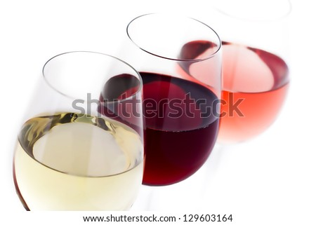 red wine, white wine, rose