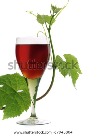 Red wine with grape leaves