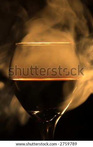 Red wine with smoke