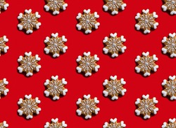 Red winter background. Snowflake seamless pattern. Christmas celebration ornament. Brown festive adornment with white hearts minimalist symmetrical arrangement isolated on bright.
