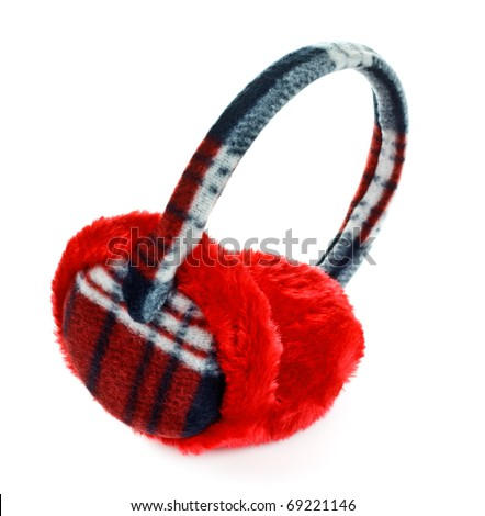 red winter earmuff isolated on white background