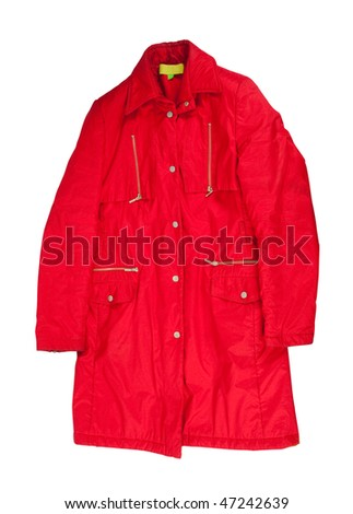 Red winter jacket, isolated over white background