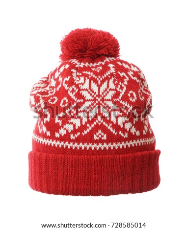 d7806615e0d Red winter knitted hat. knitted hat isolated on white background .hat with  pompon .