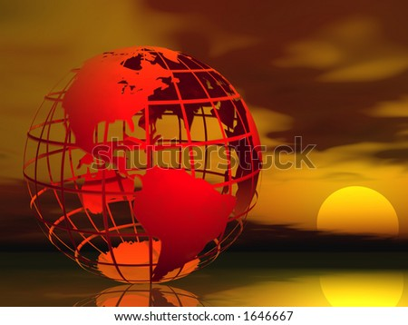 Red Wire frame globe symbolizing global warming